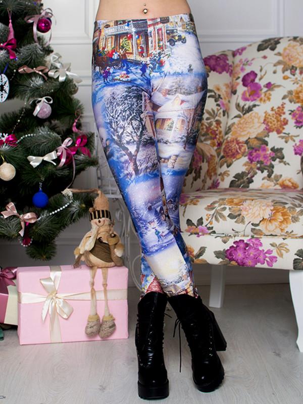 Женские лосины с принтом Рождество Размер 40 - 50