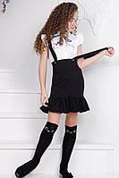Стильный костюм на девочку блузка с юбкой черный, фото 1