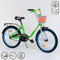 Велосипед Corso 20 дюймов 2-х колесный с ручным тормозом, корзинкой, звоночком, подножкой, собран SKL11-179274
