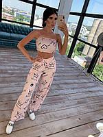 Летний брючный костюм: кроп топ и брюки трубы, разные цвета, фото 1