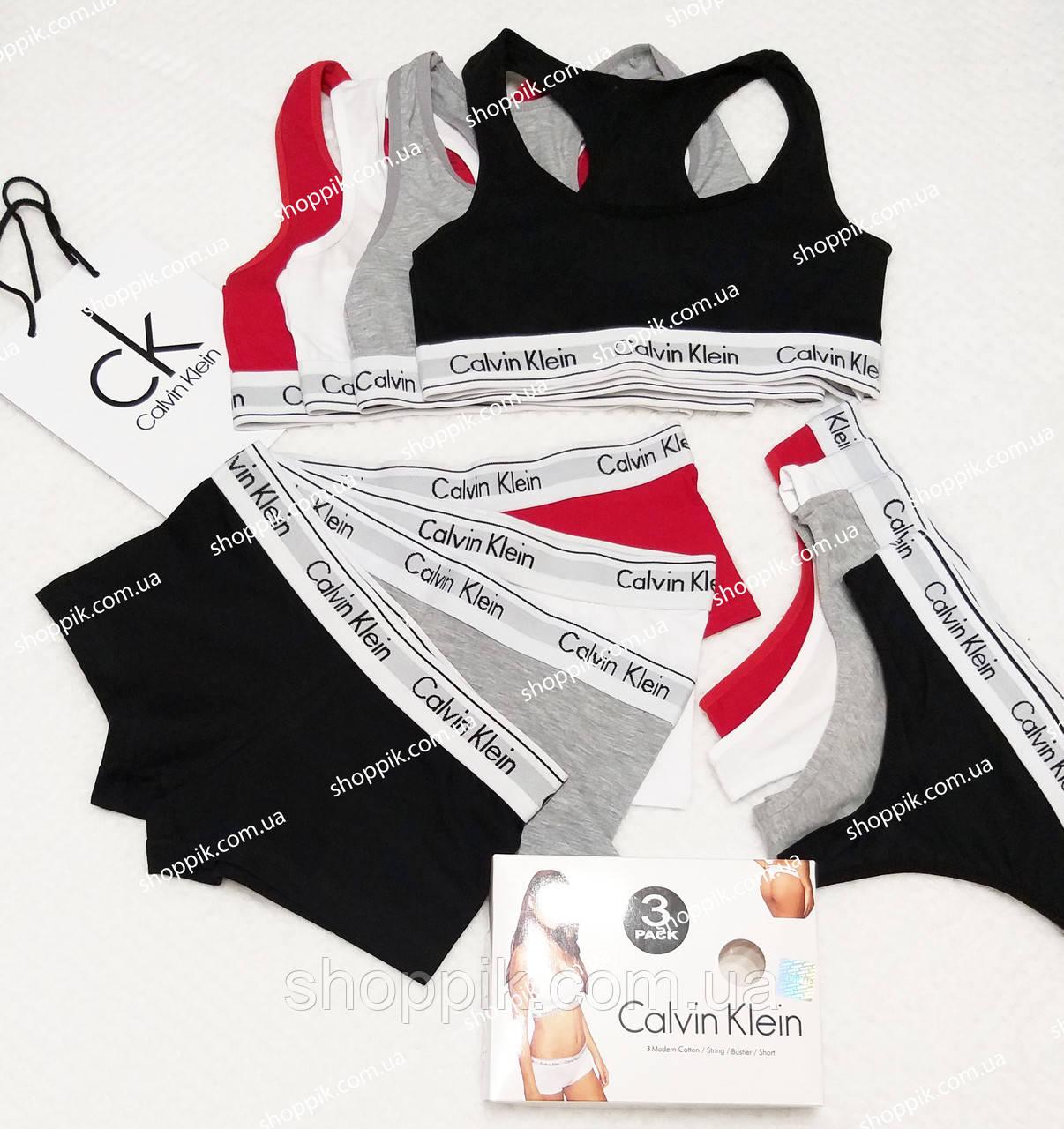 Комплект женского нижнего белья стринги + топ + шортики Calvin Klein
