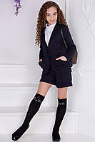 Стильный костюм на девочку пиджак с шортами черный, фото 1