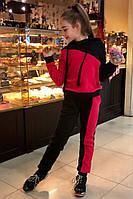 Утепленный костюм для девочки черный с красным, фото 1