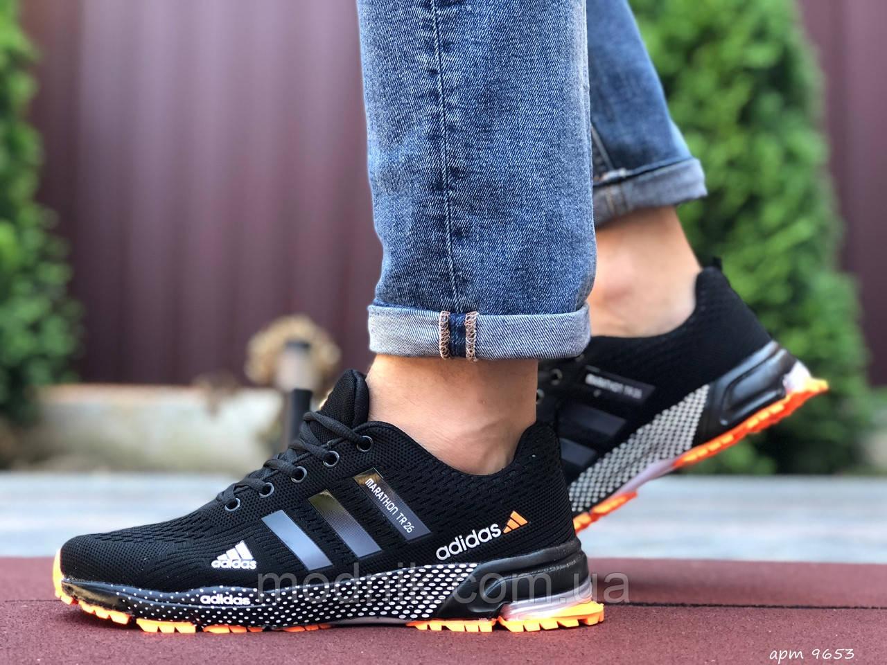 Мужские кроссовки Adidas Marathon TR 26 (черно-оранжевые) 9653