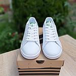 Женские спортивные кеды Adidas Stan Smith (бело-зеленые) 20172, фото 4