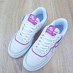 Женские кроссовки Nike Air Force 1 Shadow (бело-розовые) 20180, фото 9