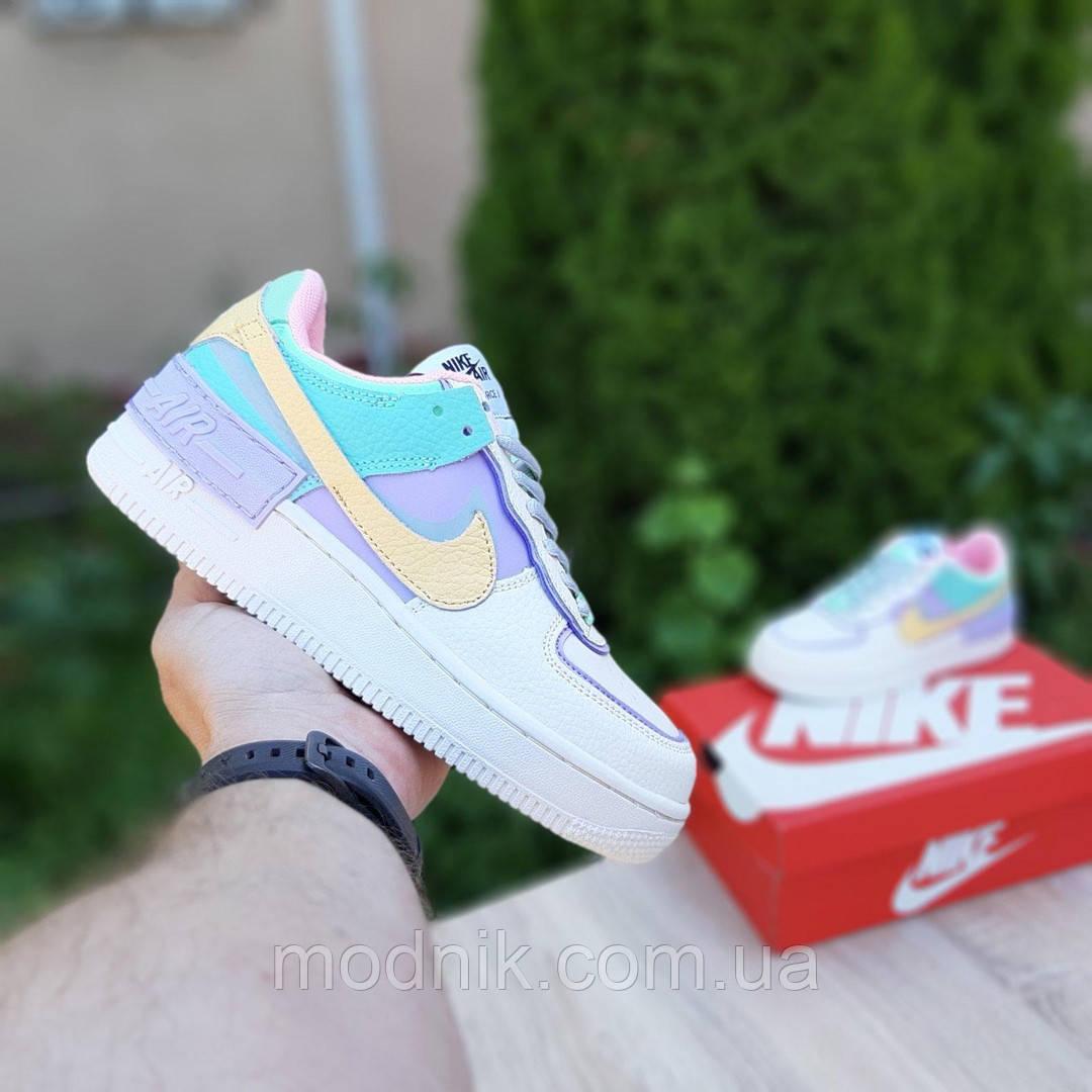 Женские кроссовки Nike Air Force 1 Shadow (бежево-сиреневые) 20181