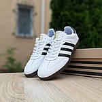 Мужские кроссовки Adidas Samba (бело-черные) 10229, фото 3