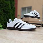 Мужские кроссовки Adidas Samba (бело-черные) 10229, фото 5