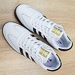 Мужские кроссовки Adidas Samba (бело-черные) 10229, фото 6