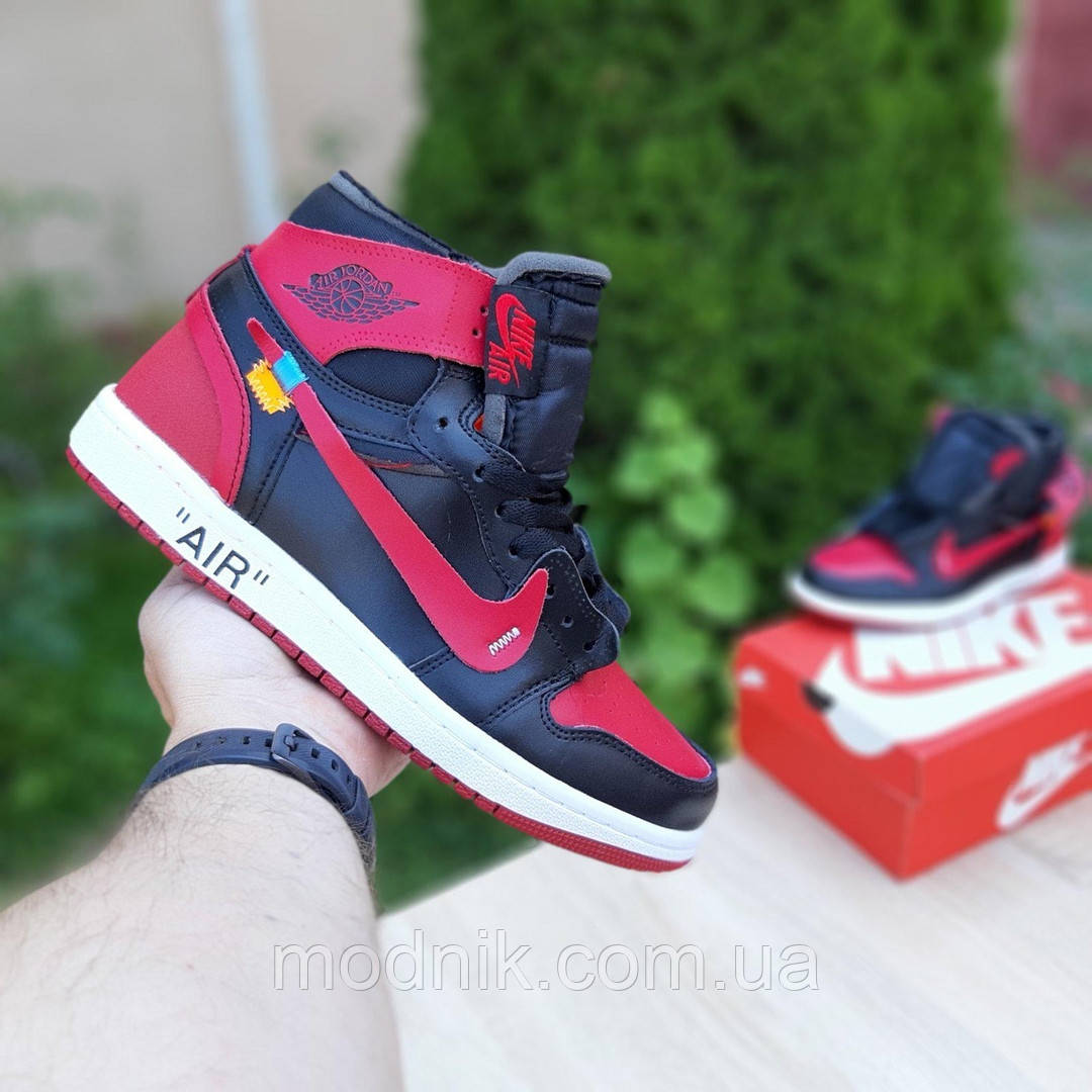 Мужские кроссовки OFF-WHITE Nike Air Jordan 1 High '85 (красно-черные) 10230