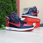 Мужские кроссовки OFF-WHITE Nike Air Jordan 1 High '85 (красно-черные) 10230, фото 3