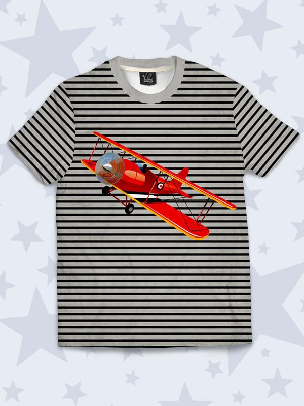 Детская полосатая футболка с принтом Красный самолет Размер 1 - 10 лет