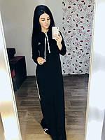 Спортивное платье худи макси с капюшоном