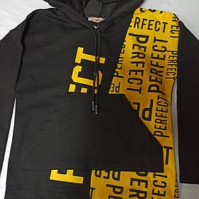 Худи модное нарядное оригинальное красивое чёрного цвета с капюшоном и карманом- кенгуру.