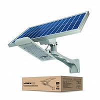 LED фонарь уличный с солнечной панелью VIDEX 30W 5000K автономный