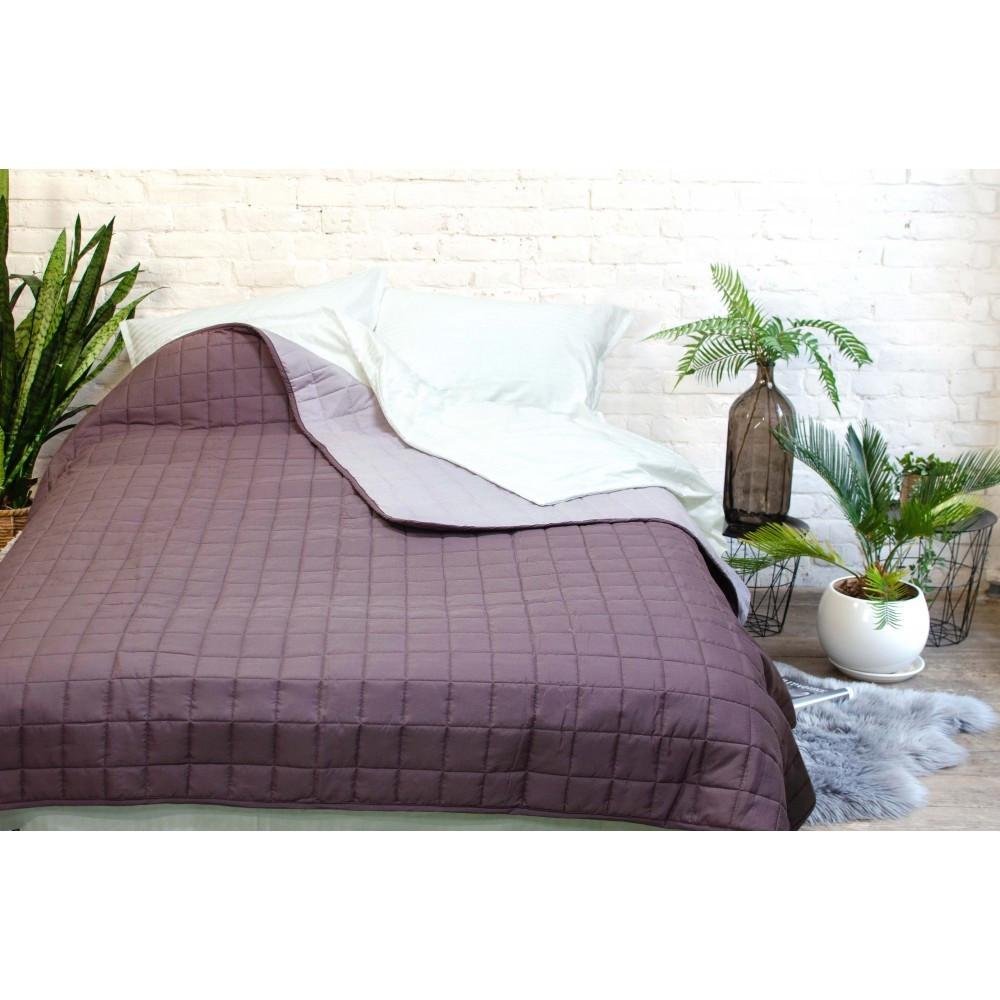 Легкое двухстороннее покрывало одеяло Дуэт 140х210 стеганое микрофибра Полуторный Сливовый