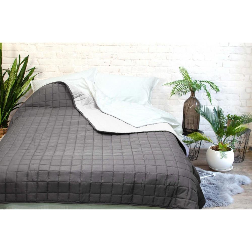 Легкое двухстороннее покрывало одеяло Дуэт 210x220 стеганое микрофибра Евро Графит