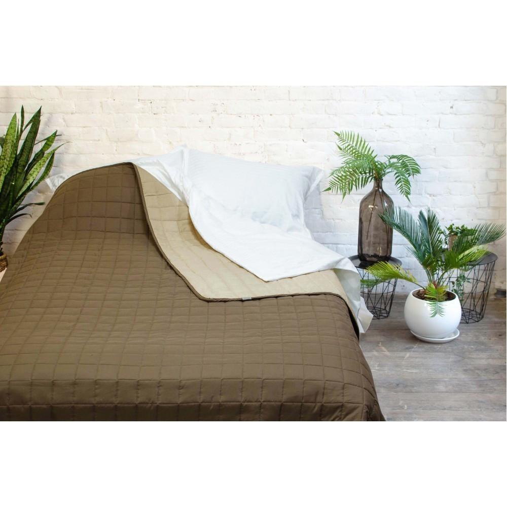 Легкое двухстороннее покрывало одеяло Дуэт 210x220 стеганое микрофибра Евро Коричневый