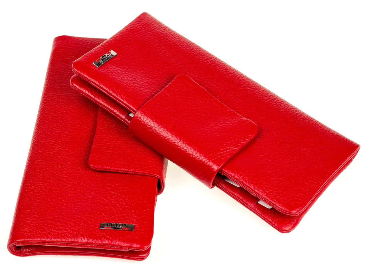 Жіночий гаманець клатч Butun 638-004-006 шкіряний червоний