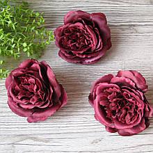 Троянди Девіда Остіна з тканини (головка без листя) - 9 див. Вишнева (марсала).