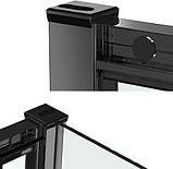 Душевая кабина Dusel EF184 Black Matt, 100х100х190, двери раздвижные, профиль черный, стекло прозрачное, фото 4
