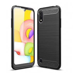 Чохол для Samsung Galaxy A01 Carbon протиударний щільний карбоновий чохол на самсунг А01 чорний