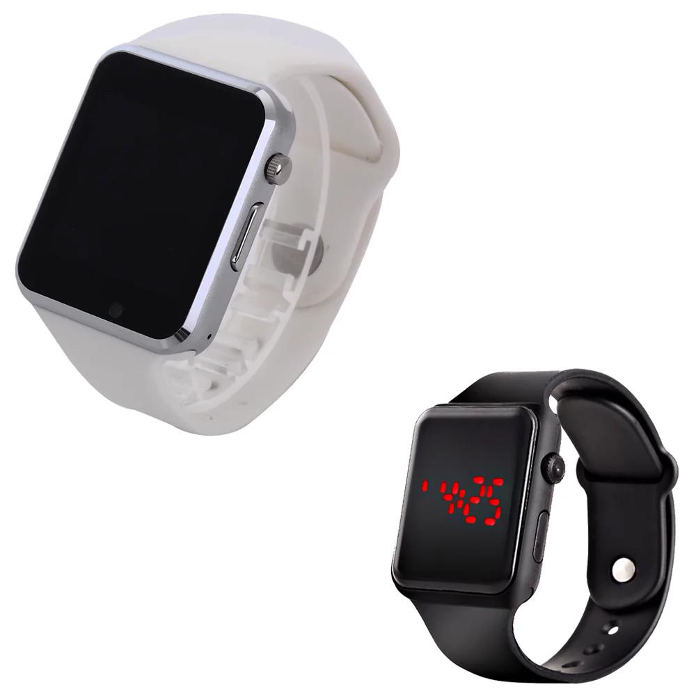 Комплект Смарт-часы Smart Watch A1 White + Наручные электронные часы 2Life l2 Black (n-120)