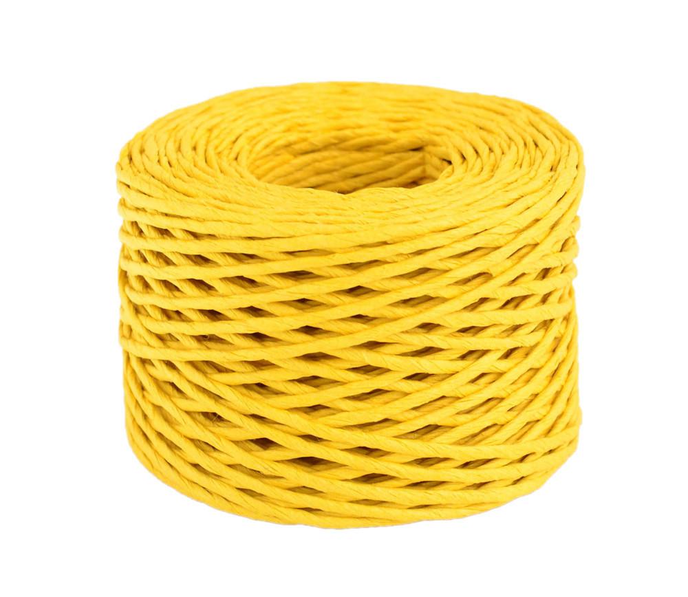 Шпагат бумажный крученый для декора, 50 м, жёлтый.