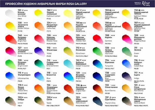 Краска акварельная, Индиго, 2,5мл, ROSA Gallery, фото 2