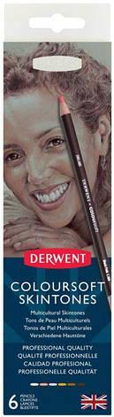 Набор цветных карандашей Coloursof Skintone  в метал. короб., 6цв., Derwent, фото 2