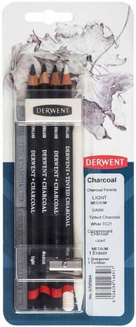 Набір угольных материалов Charcoal, 9 предметов, в блистере, Derwent, фото 2