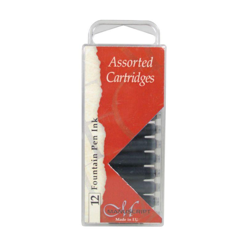Набор картриджей с чернилами для перьевых ручек, 12шт (5 цветов в ассортименте), Manuscript