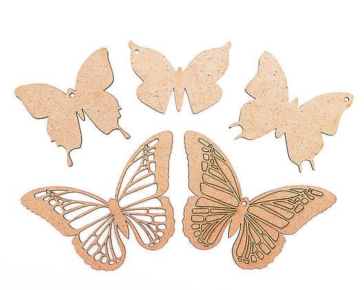 Набор основ для росписи и декорирования Бабочки 5шт ДВП, фото 2