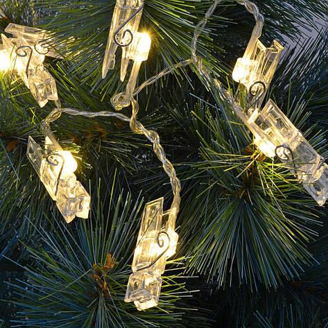 Гирлянда-прищепка на 20 лампочек, электрическая, фото 2