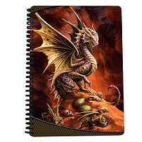 Блокнот 18210 (72шт) дракон, на пружине, клетка, 3D, A4, упаковка 12шт