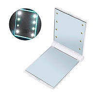 🔝 Карманное зеркало подсветкой Make-Up Mirror 8 LED Белое подарочное косметическое зеркальце для макияжа | 🎁%🚚