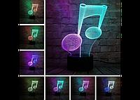 """3D светильник """"Музыкальная нота"""" (1116)"""