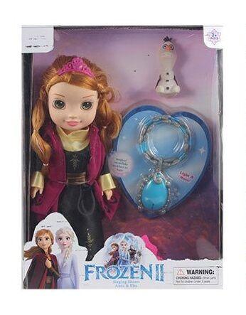 "Музична Лялька Ганна 33см ""Холодне серлце"" Frozen 2 з кулоном (світло, звук )"