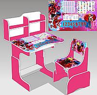 """Парта школьная """"Леди Баг"""" ЛДСП ПШ 033 цвет малиновый (69*45 см) + 1 стул"""