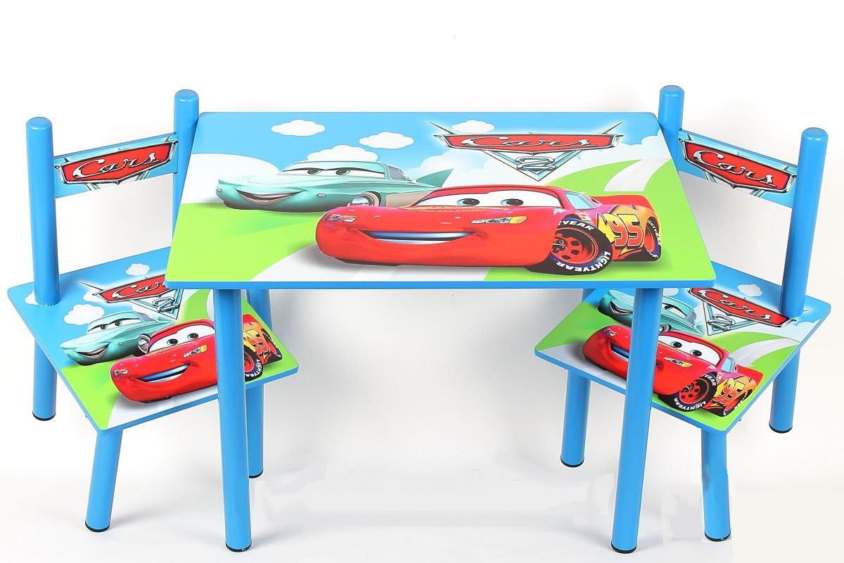 """Набір дитячої дерев'яної меблів Столик + 2 стільчика """"Тачки"""""""