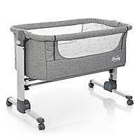 Приставная кроватка от рождения детская с сумкой,матрас,прикроватные ремни,алюминий+лен,серый(ME 1026 Sleepy)