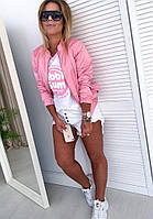 Стильная женская курточка, бомбер, ветровка, розовая, 505-026, фото 1