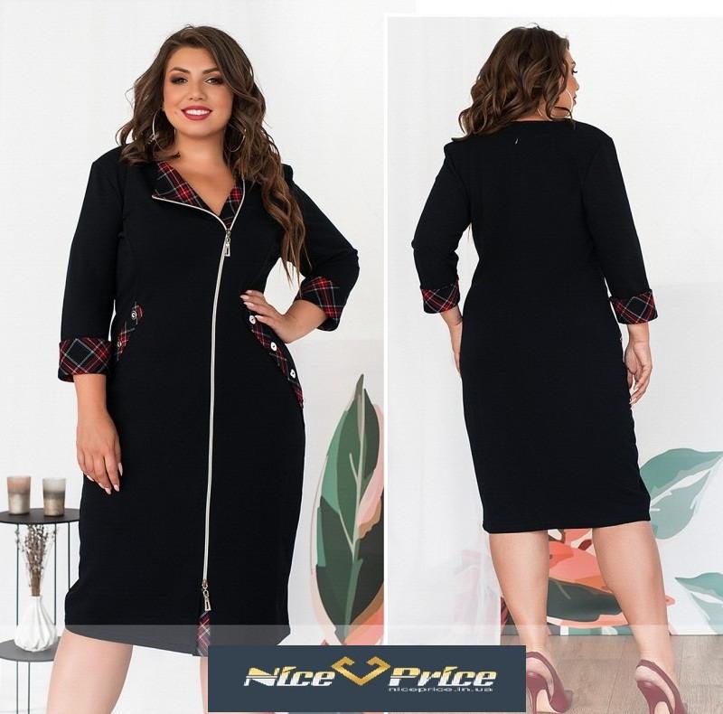 Комфортне жіноча сукня на блискавці,з оздобленням 52,54,56,58,60