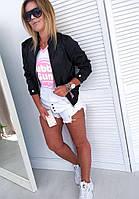 Стильная женская курточка, бомбер, ветровка, черная, 505-027