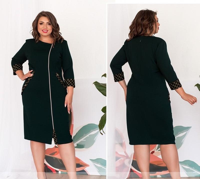 Комфортне жіноча сукня на блискавці,з оздобленням,пляшковий 52,54,56,58,60