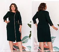 Комфортне жіноча сукня на блискавці,з оздобленням,пляшковий 52,54,56,58,60, фото 1