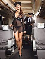 Игровой костюм «Любимица пилота» 3-piece Black stewardess uniform, S/M, M/L