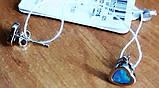 """Сережки серебрянные """"Сердечка"""" (гвоздики, голубой опал), фото 4"""