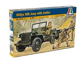 Willys MB Jeep with trailer. Сборная модель военного автомобиля с прицепом в масштабе 1/35. ITALERI 314
